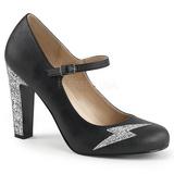 Black Leatherette 10 cm QUEEN-02 big size pumps shoes
