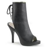 Black Leatherette 12,5 cm EVE-102 big size ankle boots womens