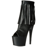 Black Leatherette 18 cm ADORE-1019 womens fringe ankle boots high heels