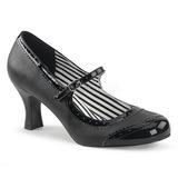 Black Leatherette 7,5 cm JENNA-06 big size pumps shoes