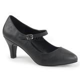 Black Leatherette 8 cm DIVINE-440 Women Pumps Shoes Flat Heels