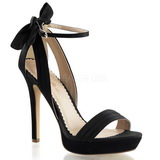 Black Satin 12 cm LUMINA-25 High Heeled Evening Sandals