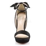 Black Satin 12 cm LUMINA-25 High Heeled Evening Sandals