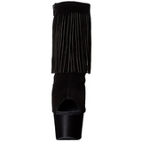 Black Suede 18 cm ADORE-1019 womens fringe ankle boots high heels