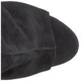 Black Suede 18 cm Pleaser ADORE-1018 Platform Ankle Calf Boots