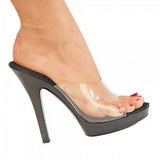 Black Transparent 13 cm Fabulicious LIP-101 Mules High Heels Platform