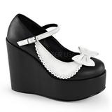 Black White 13 cm POISON-04 Platform Wedge Pumps Heels