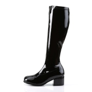 Black boots block heel 5 cm - 70s years style hippie disco gogo under kneeboots patent leather