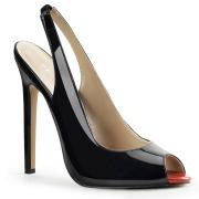 Black slingback pumps 13 cm SEXY-08 peeptoe slingbacks shoes