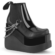 Black vegan boots 13 cm VOID-50 demonia knee boots wedges platform