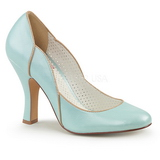 Blue 10 cm SMITTEN-04 Pinup Pumps Shoes with Low Heels