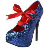 Blue Glitter 14,5 cm Burlesque TEEZE-10G Platform Pumps Shoes