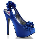 Blue Satin 14,5 cm Burlesque TEEZE-56 Platform High Heeled Sandal Shoes
