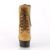 Brown Faux Suede 15 cm DELIGHT-600TL-02 pleaser ankle boots platform
