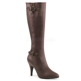Brown Leatherette 10 cm DREAM-2030 big size boots womens