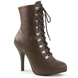 Brown Leatherette 12,5 cm EVE-106 big size ankle boots womens