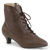 Brown Leatherette 5 cm FAB-1005 big size ankle boots womens