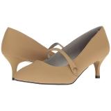 Brown Leatherette 6,5 cm KITTEN-03 big size pumps shoes