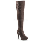 Brown Leatherette Wide Calf 13 cm CHLOE-308 Overknee Boots