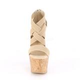 Brun band 16,5 cm BEAU-669 wedge sandaler med kork kilehæl
