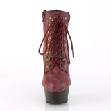Burgundy Faux Suede 15 cm DELIGHT-600TL-02 pleaser ankle boots platform