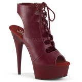Burgundy Vegan 15 cm DELIGHT-600-20 open toe ankle booties