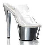 Chrome Transparent 18 cm SKY-302 Plateau Women Mules Shoes