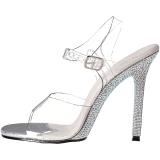 Clear 11,5 cm CHIC-08DM Rhinestones Heeled Evening Sandals