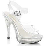Clear 13 cm COCKTAIL-508MG Acrylic Platform High Heeled Sandal
