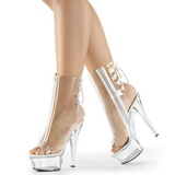 Clear 15 cm KISS-1018C womens platform soled ankle boots
