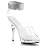 Clear Rhinestone 13 cm LIP-142 Acrylic Platform High Heeled Sandal