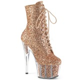 Copper glitter 18 cm ADORE-1020G womens platform soled ankle boots