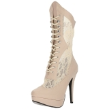 Cream Leatherette 13,5 cm CHLOE-115 big size ankle boots womens