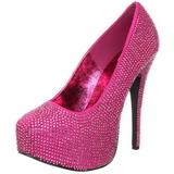 Fuchsia Rhinestone 14,5 cm Burlesque TEEZE-06R Platform Pumps Women Shoes