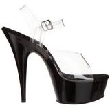 Gjennomsiktig Svart 15 cm Pleaser DELIGHT-608 høye hæler damer sko
