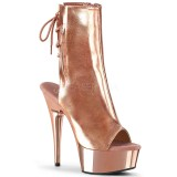 Gold 15 cm DELIGHT-1018 Platform Ankle Calf Boots