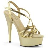 Gold 15 cm Pleaser DELIGHT-613 Womens High Heel Sandals
