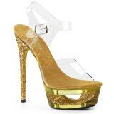 Gold 16,5 cm ECLIPSE-608GT High Heeled Stiletto Sandals