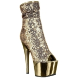 Gold 18 cm ADORE-1008SQ womens sequins ankle boots