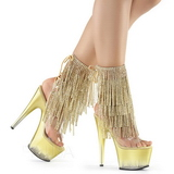 Gold 18 cm ADORE-1017RSFT womens fringe ankle boots high heels