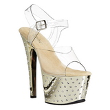 Gold 18 cm Pleaser STARDUST-708 High Heels Chrome Platform