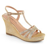 Gold 8 cm SILVIE-20 Women Wedge Sandals