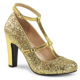 Gold Glitter 10 cm QUEEN-01 big size pumps shoes