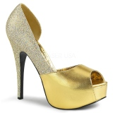 Gold Glitter 14,5 cm Burlesque TEEZE-41W mens pumps for wide feets