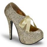 Gold Glitter 14,5 cm TEEZE-10G Platform Pumps Shoes