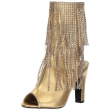 Gold Leatherette 10 cm QUEEN-100 big size ankle boots womens