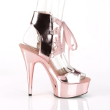 Gold Leatherette 15 cm DELIGHT-600-14 platform pleaser sandals