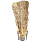 Gold Leatherette 18 cm BEJRSF-7 womens fringe boots high heels