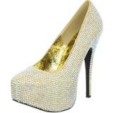 Gold Rhinestone 14,5 cm TEEZE-06R Platform Pumps Women Shoes