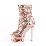Gold Rose Sequins 15,5 cm BLONDIE-R-1008 Platform Ankle Calf Boots